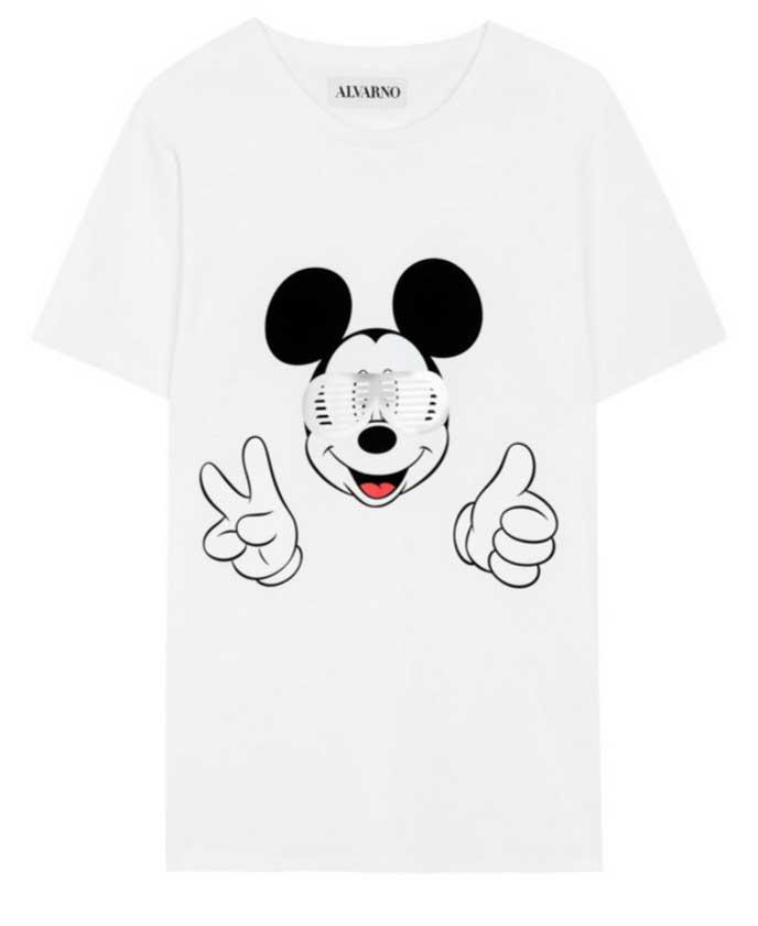 alvarno camiseta mickey mouse en blanco