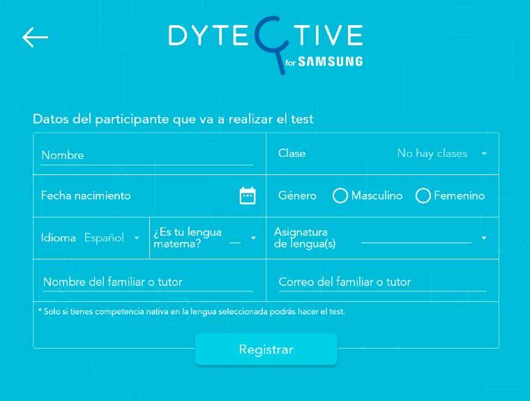 registra los datos en dytective