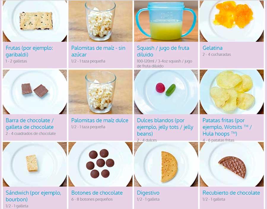azucar tamaño de las porciones de alimentos para niños