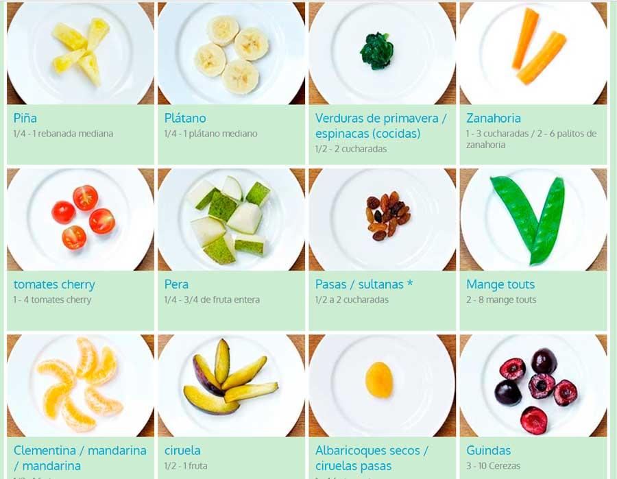 tamaño de las porciones de alimentos para niños frutas variadas