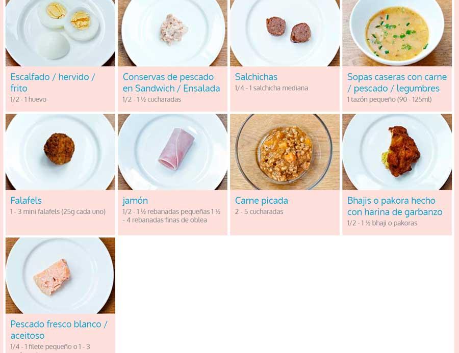 tamaño de las porciones de alimentos para niños carne