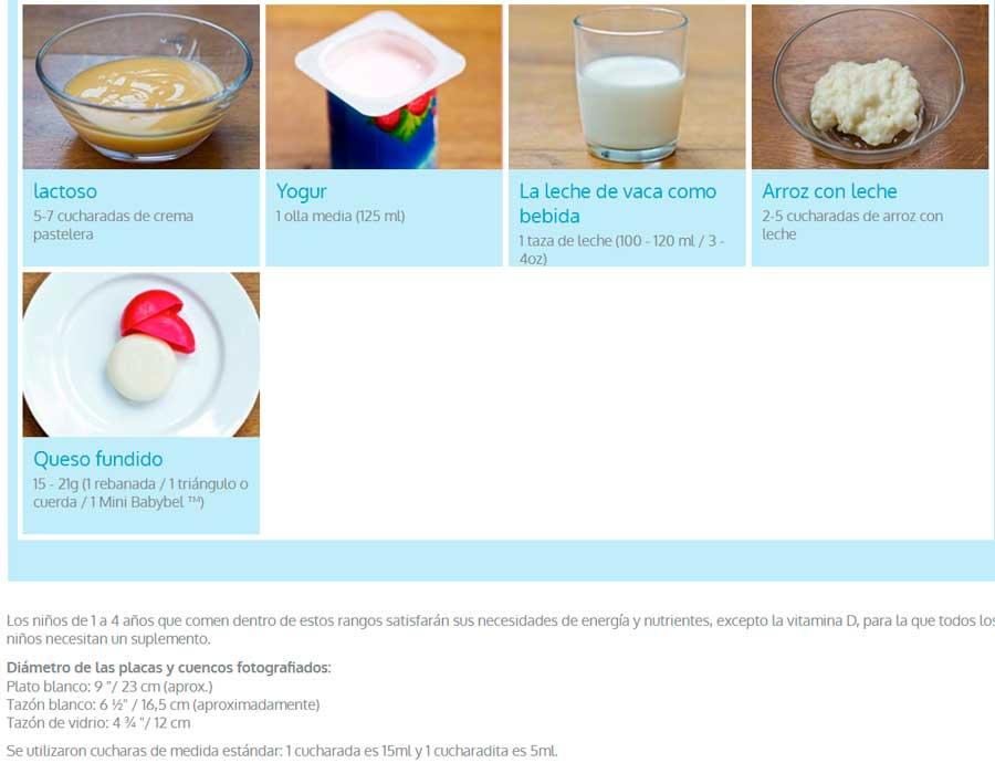 tamaño de las porciones de alimentos para niños yogur